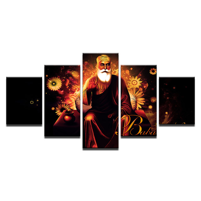 wall art pictures home decor for living room posters frame 5 pieces hd printed india tibetan buddhism guru nanak canvas painting