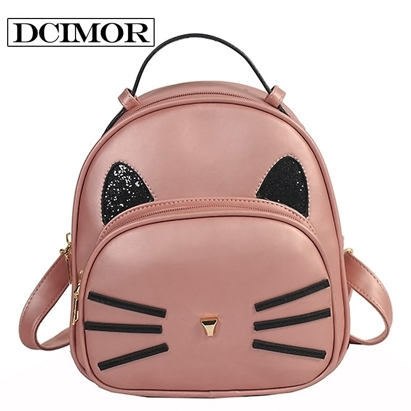 DCIMOR Brand Women PU Leather Backpack Women s Backpacks for Teenage Girls Cute kitty Backpack pearly