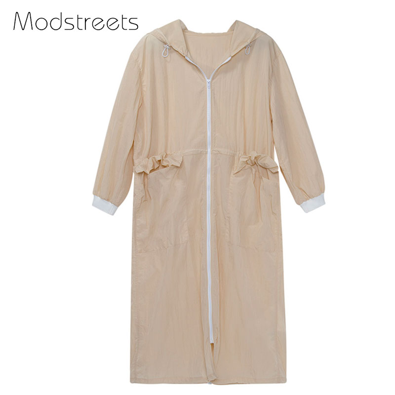 Modstreets 2017 Early Autumn Women Trench Coats Overcoats Long Hooded Trench Thin Coat Female Windbreaker Outwear Khaki Loose