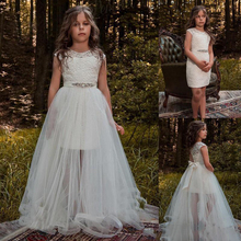 2019 Country Lace Flower Girl Dress with Detachable Train Jewel Beaded Sash Short Kids Pageant Dress luxury champagne sequins long girls pageant dress halter with sash flower girl dress custom made