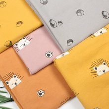 145cm X50cm High Quality Cotton Lovely Lion Hedgehog Flannel Cloth Sanding Soft Fabric and Yarn Dyed Plaid Shirt Cloth 240g/m