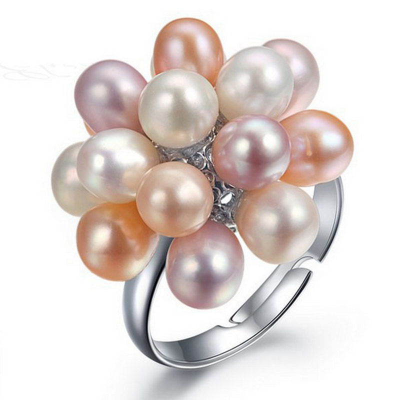 2016 Fashion Real Pearl Jewelry Water Drop Natural Freshwater Pearl Flower Wedding Rings Gold Plated Pearl