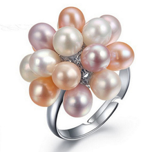2016 Fashion Real Pearl Jewelry Water Drop Natural Freshwater Pearl Flower Wedding Rings Gold Plated Pearl Ring For Women Gift