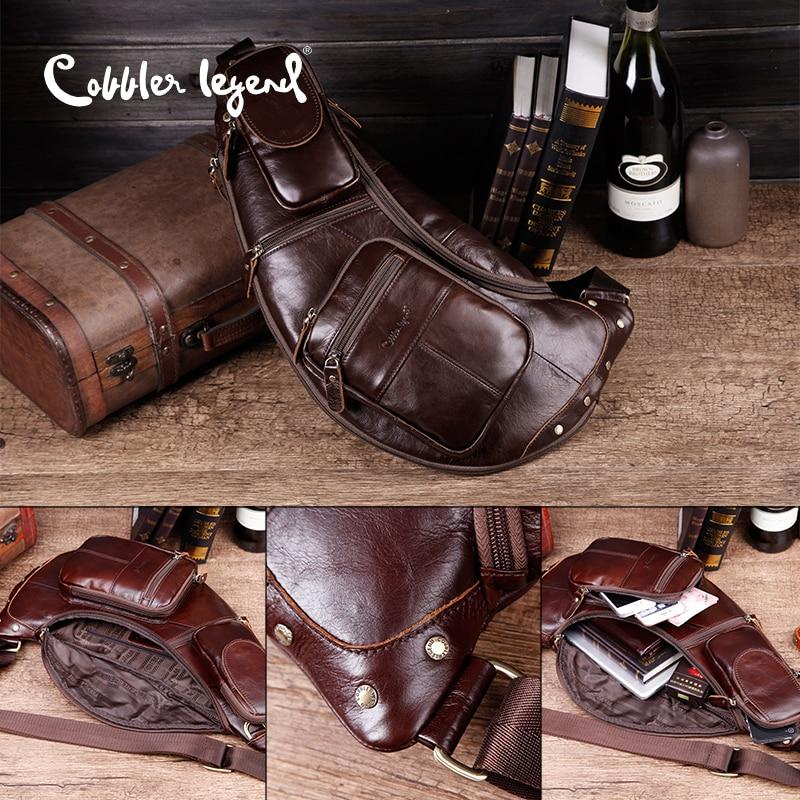 Cobbler Legend Men's Vintage Genuine Leather Travel Messenger Shoulder Bags for Men Cross Body Chest Pack Bag For Men - 3