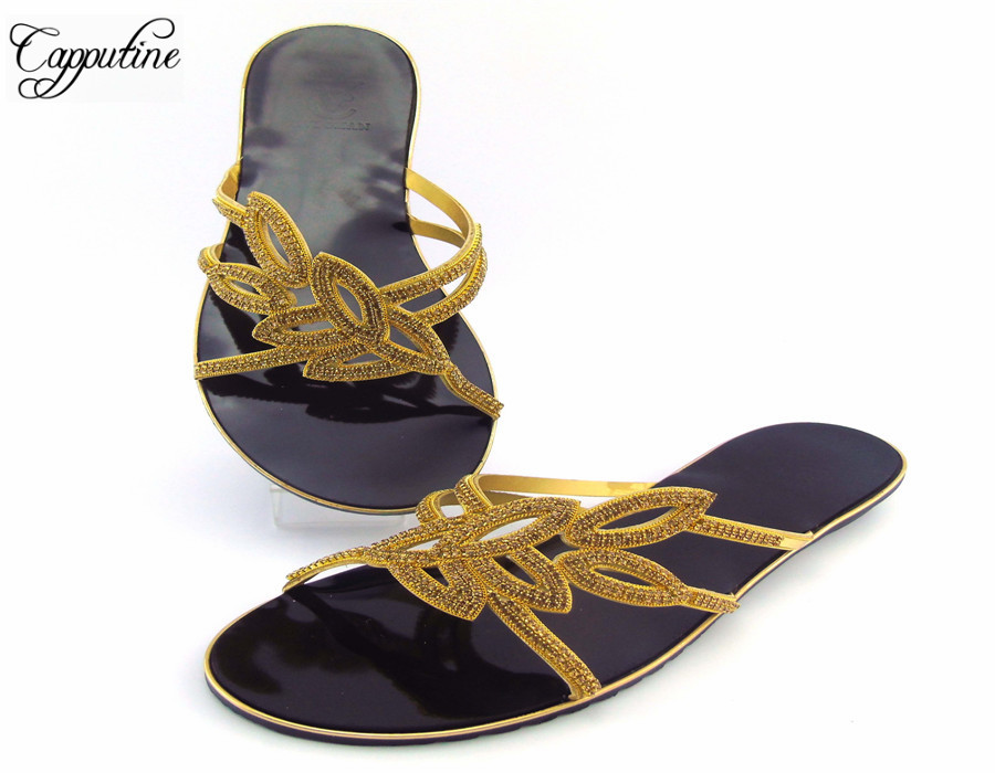 цена на Capputine Most Popular Fashion African Ladies Shoes Hot Sale Italian Slipper Low Heels Shoes For Party ABS1114