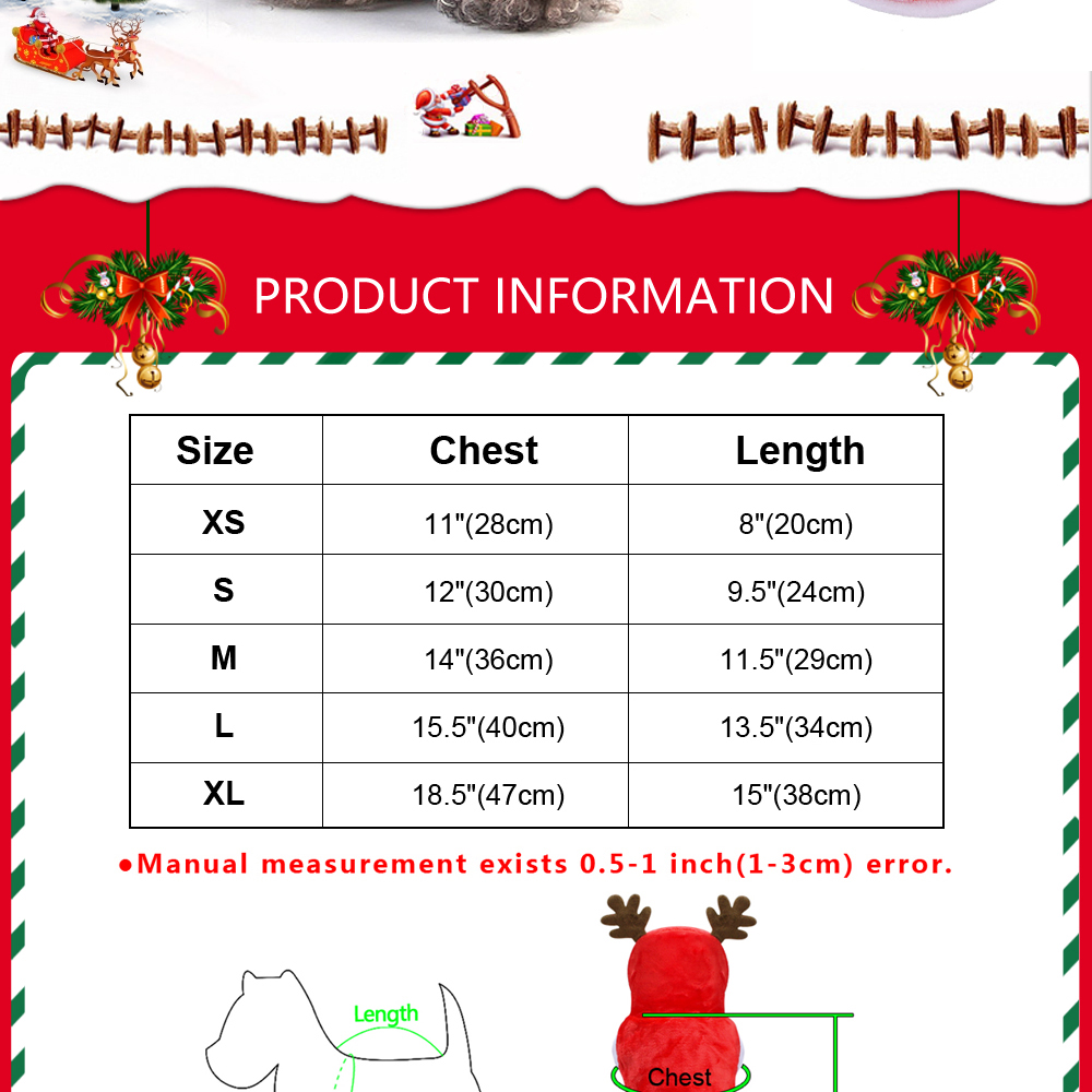 Warm Dog Jacket in Santa Claus Pattern with Hoodie and Warm Cuffs for Small Dogs 7