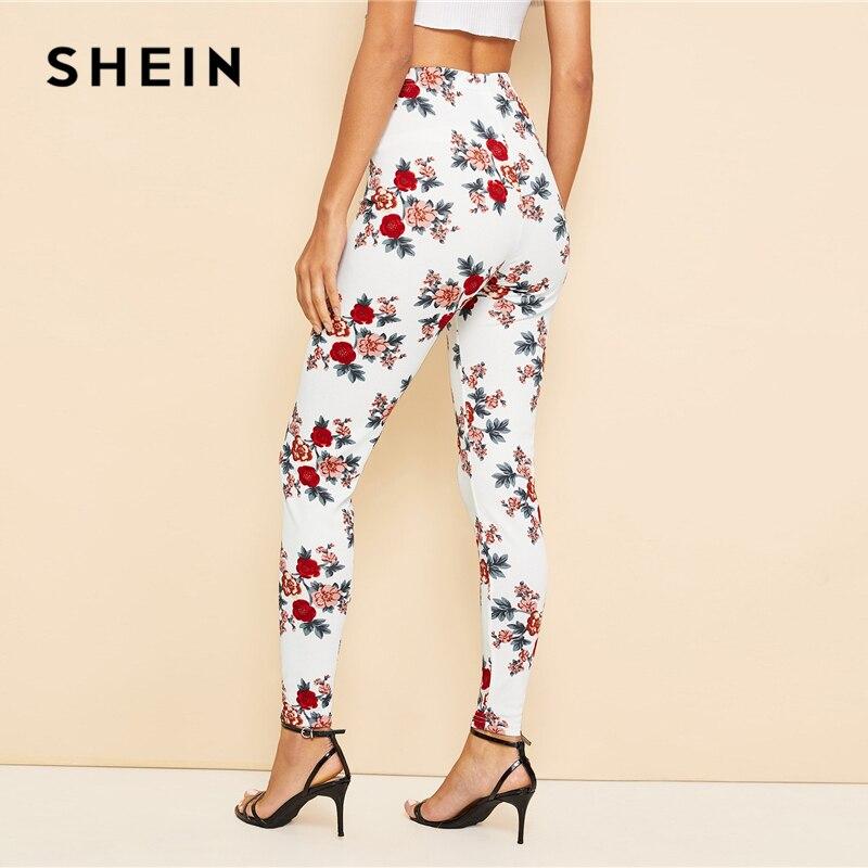 ab9b56df8f SHEIN White Floral Print Leggings – Katling