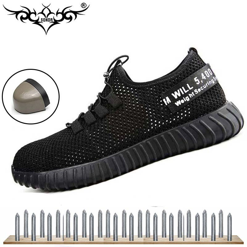 Work shoes anti-piercing steel toe shoes comfortable breathable summer men's safety shoes work boots 35-47 large size SONDR