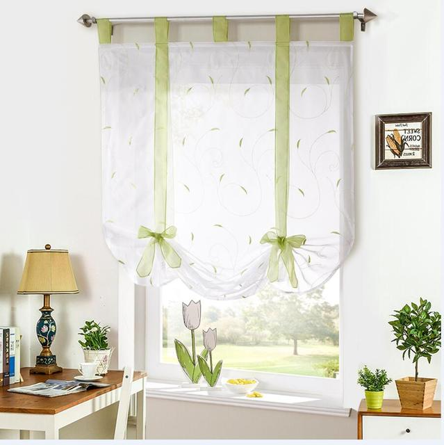 Roman Shade European Embroidery Style Tie Up Window