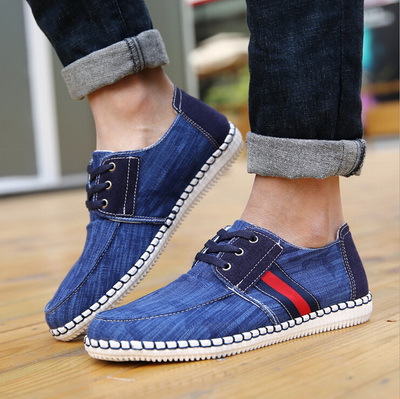 Hot New Style Wash Jeans Canvas Shoes Man Italian Hand Sewn Brand