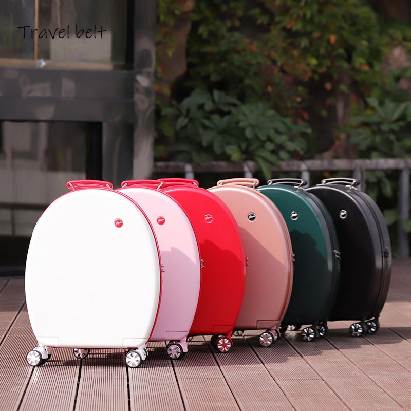 Can sit Women Korean Rolling Luggage Spinner 20 inch High capacity Fashion Travel Bags Password Cabin
