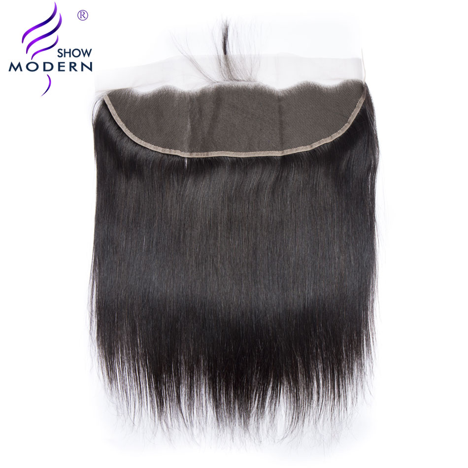 Modern Show Straight Hair Lace Frontal Closure With Baby Hair 13x4 Ear To Ear Pre-Plucked 130% Density Remy Human hair