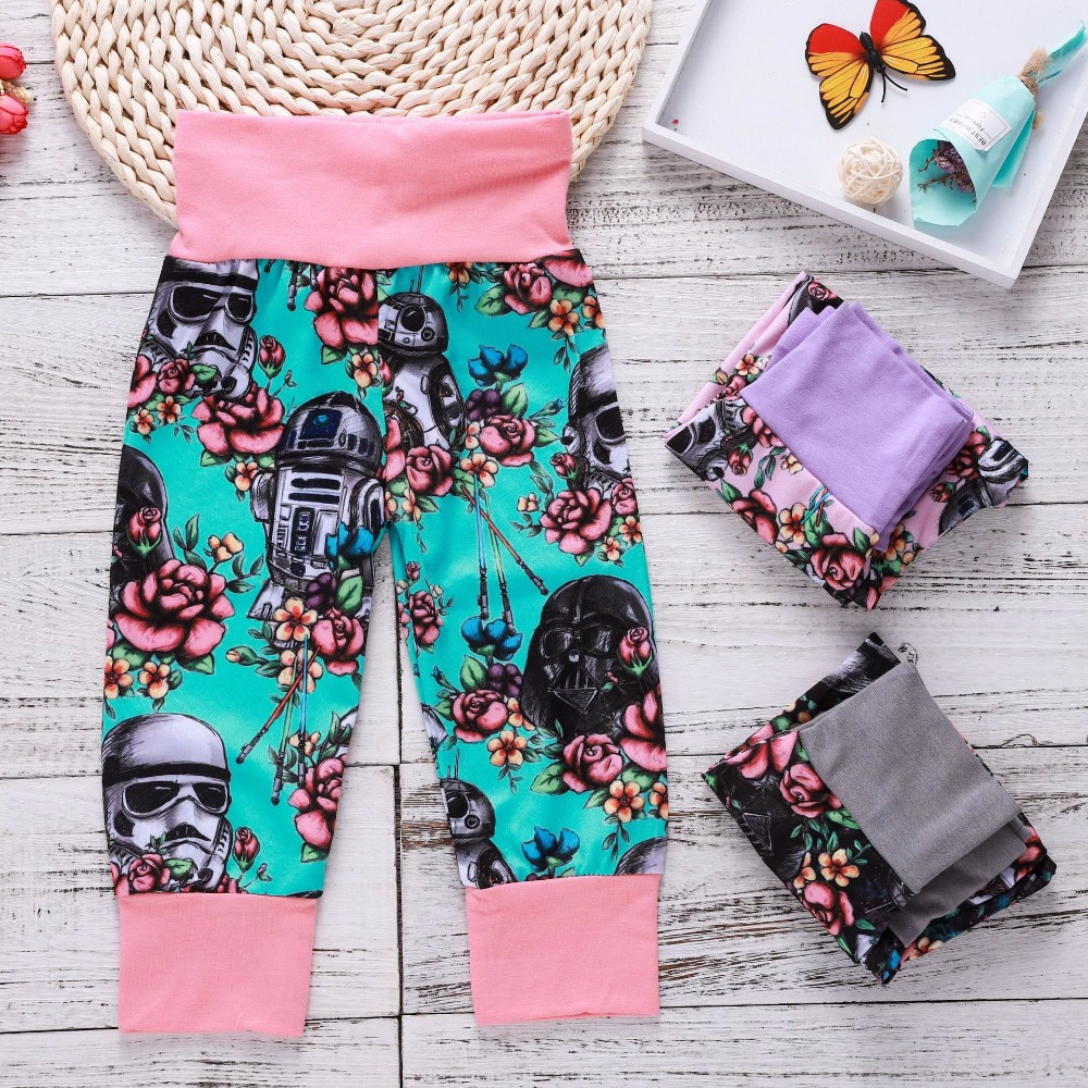 On Sale Floral Printing Baby Girls Long Pants New Fashion Kids Baby Girls Flower Cartoon Clothing Leggings Pants Newborn Pants kids floral print pants