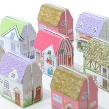 2019 nuevo Mini Vintage casa hojalata forma caja lata almacenamiento bolsa de monedas caja de joyería preciosa caja de almacenamiento de impresión niñas 6 diseño Paquete de mezcla