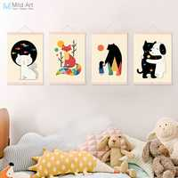Bunte Nette Tiere Freund Umarmung Katze Bär Hund Kinder Zimmer Holz Gerahmte Leinwand Malerei Home Decor Wand Kunst Bilder Poster blättern