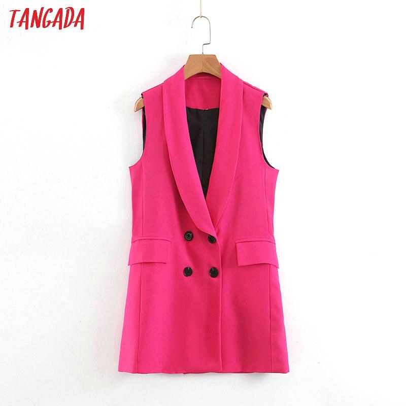 Tangada Woman Pockets Hotpink Long Vest Coat Office Ladies Waistcoat Sleeveless Blazer Double Breasted Outwear Elegant Top SL409