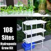 112 unid/set 220V Kit de cultivo de sistemas hidropónicos de plantas de 108 agujeros macetas de guardería Anti plagas de cultivo sin suciedad de jardín interior cultivo Pl