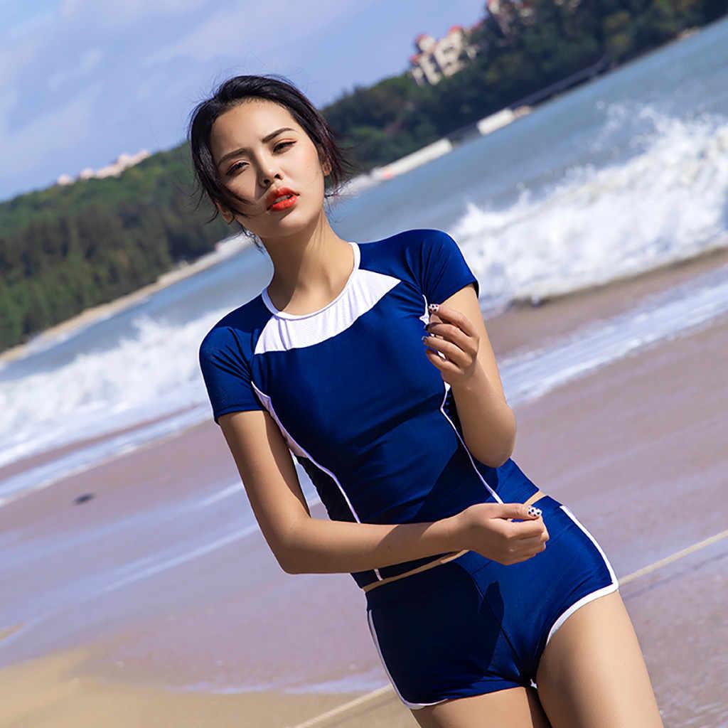 Wanita Lengan Perlindungan Sinar UV Matahari UPF 50 Ruam Penjaga TOP 2 Piece Swimsuit Set Wanita Surfing Baju Lengan Pendek Baru fashion A30515