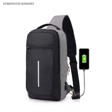 New Male Shoulder Bags USB Charging Crossbody Men Anti Theft Chest Bag