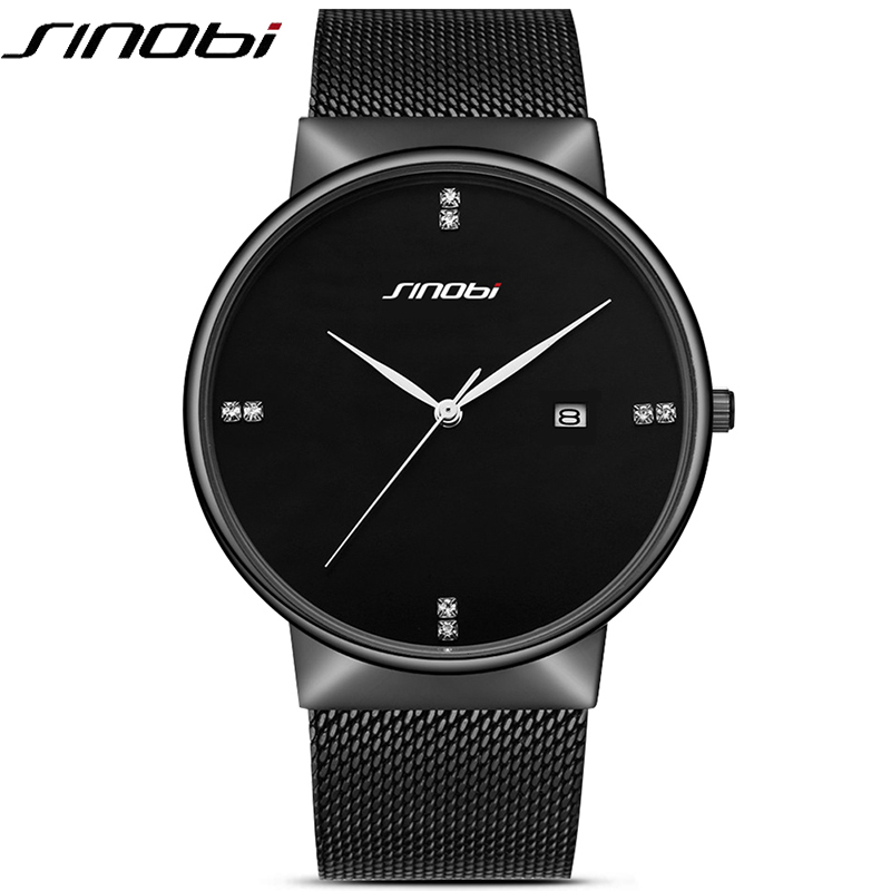 SINOBI Simple design Fashion Quartz Watch men's Black Luxury Business Casual Quartz-Watch Clock Male Stainless steel Mesh Band turnstile turnstile access control turnstile barrier gate swing turnstile barrier for access control