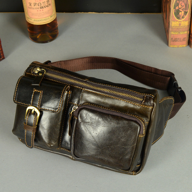 New hot Vintage bolsas couro genuine leather fanny pack Fashion man small travel waist wallet bags Men's messenger bags