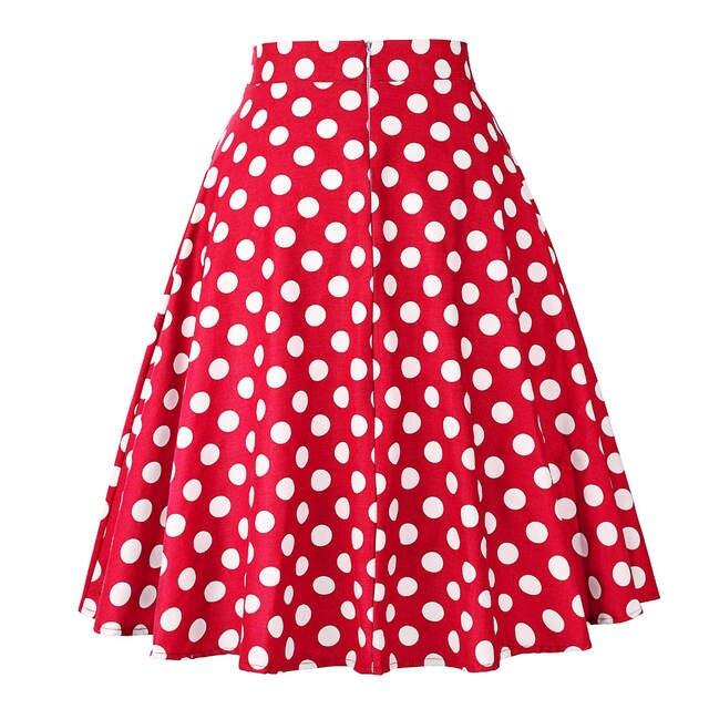 63a893910 € 7.52 50% de DESCUENTO|Falda de verano Midi Skater pista Vintage  Rockabilly faldas rojo mujeres 2018 Sexy Pinup 50 S 60 S algodón lunares  patrón ...