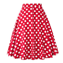 Summer Midi Skater Skirt Runway Vintage Rockabilly Skirts Red Womens Sexy Pinup 50S 60S Cotton Polka Dot Pattern Skirts