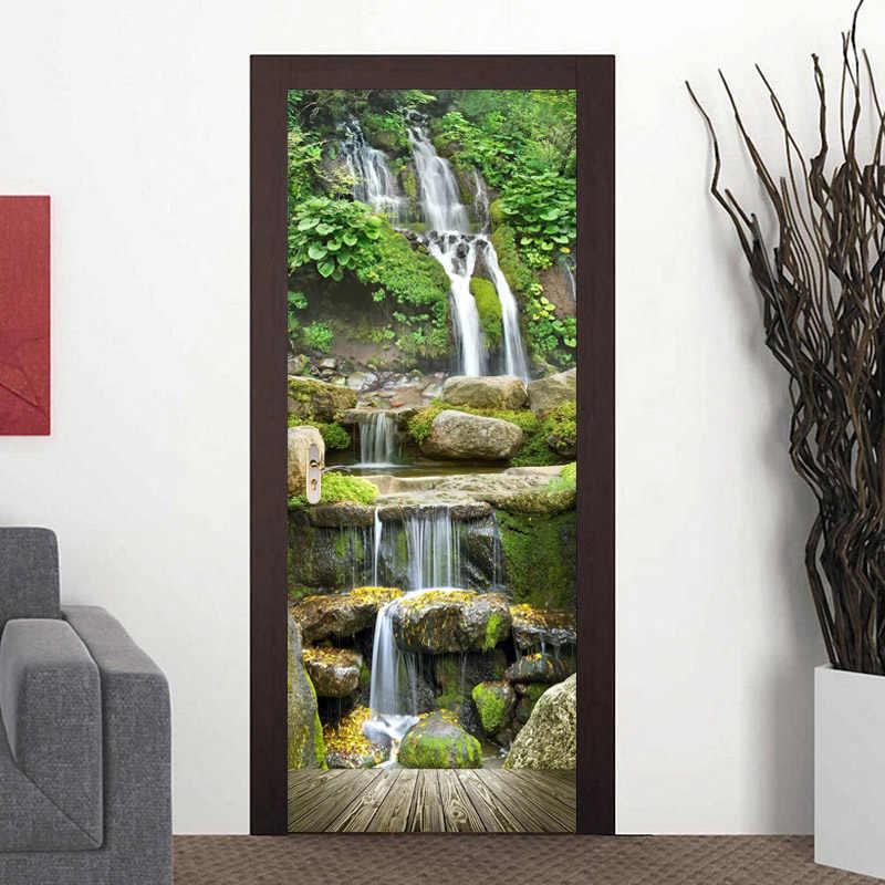 Self-Adhesive 3D Door Wall Mural AJ Wallpaper US Lemon 3D Waterfall With Trees D306 Door Wall Mural Photo Wall Sticker Decal Wall