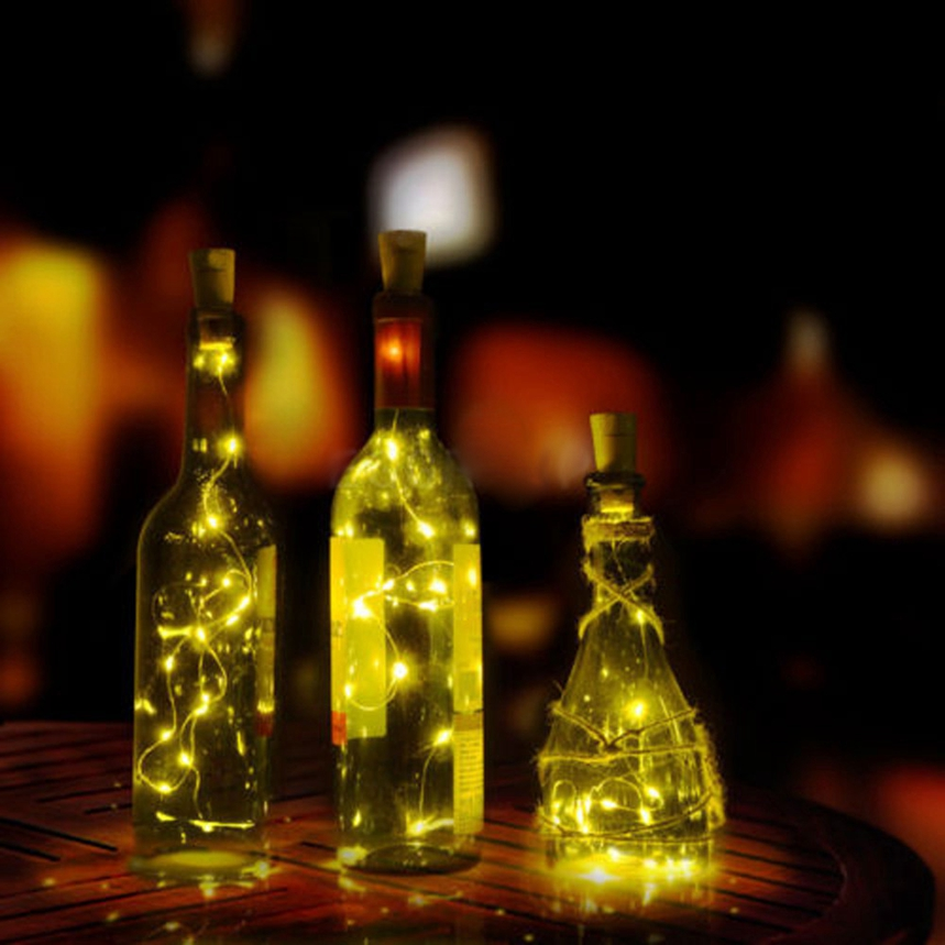 Top Grand Solar Wine Bottle Cork Shaped String Light 10 LED Fairy Light Lamp Xmas Decora ...