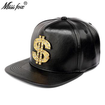Missfox Hip Hop 18k Gold Plated ameryka dolarów kształt Rhinestone wiertła $ czarny Gd męskie kapelusze i czapki tanie i dobre opinie Hip Hop Czapki Regulowany 547677152391 Faux leather GEOMETRIC