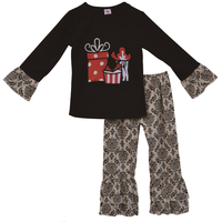 Winter Boutique Children Clothing Sets Toddler Girl Cotton Outfits Christmas Long Sleeve Tops And Pants 2