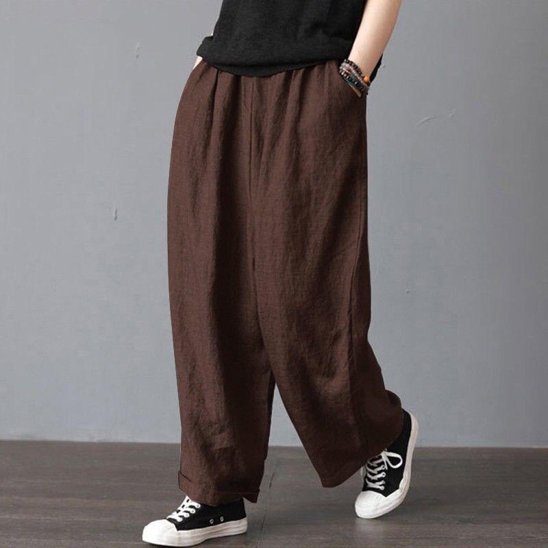 Summer Women Men Unisex Pants Casual Cotton Linen Loose Retro Drawstring Harem Long Trousers Wide Leg Pants