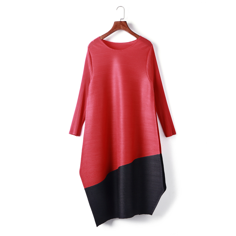 Azterumi Special Pleats New 2019 Women Mini Pleated Dress Large Size Casual Loose Patchwork Dresses Black