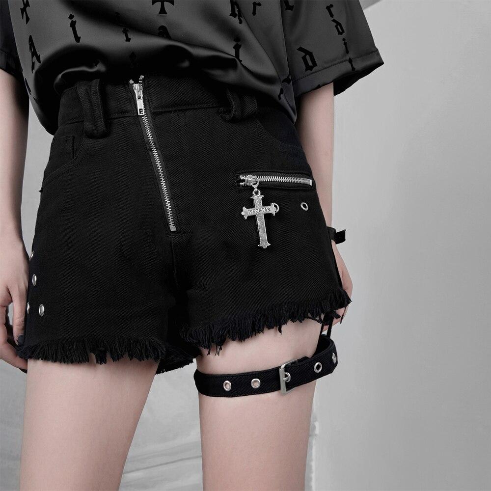 Punk Denim Shorts Women Dark Fashion Gothic Girl  Chic Zipper Sexy Cross Ring Hanging Bandage High Waist Shorts Summer Fashion