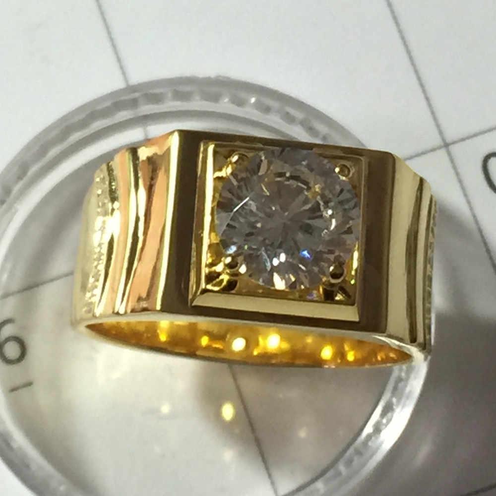 צהוב מצופה זהב טבעת זכר כסף סטרלינג טבעת לגבר 2CT טבעת יהלום SONA סימולציה מדהימה גברים טבעת אירוסין איש