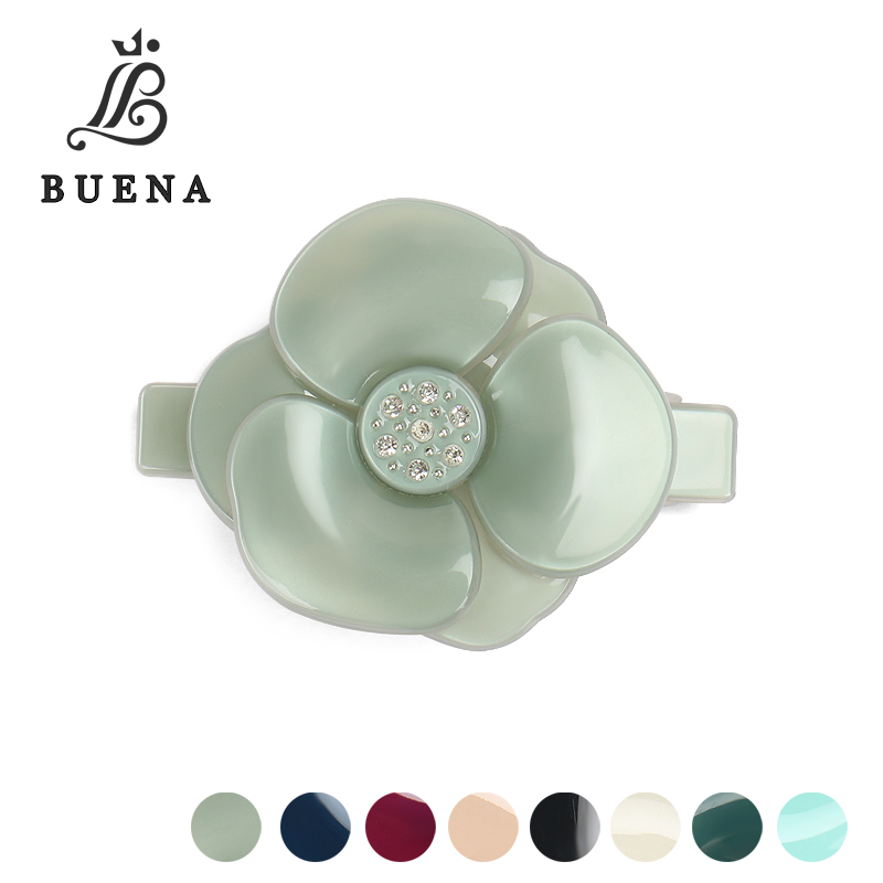 Buena Pure Color Camellia Hair Clips Jade Color French Acetate Flower Hair Barrette Paternity Suit Hair Accessories AS5073