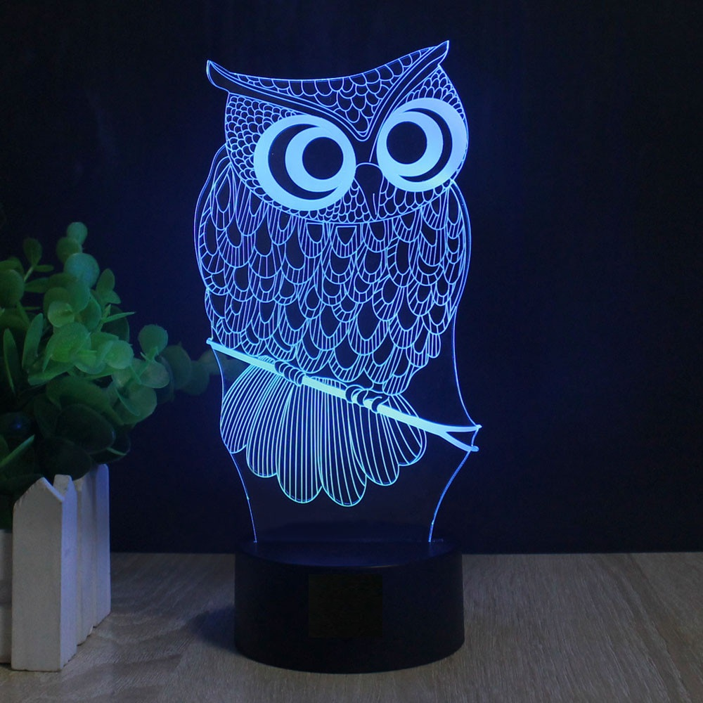 Us 12 34 35 Off Owl Novelty Lighting Illusion Lamp 7 Color Changing Touch Table Desk Led Night Light Great Kids Gifts Home Decoration In