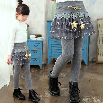 Spring and Autumn Girls Pants Fake Two Pieces of Pure Cotton 3-4-5-6-7-8-year-old 9-year-old Baby Pants Wearing Siste Girls