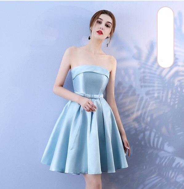 Blue Colour Sleeveless  Above Knee Mini Dress Bridesmaid Dress Wedding Guest Sexy Dress Back Of Bandage