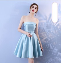 Blue Colour Sleeveless  Above Knee Mini Dress Bridesmaid Dress Wedding Guest Sexy Dress Back of Bandage blue colour sleeveless above knee mini dress bridesmaid dress wedding guest sexy dress back of bandage