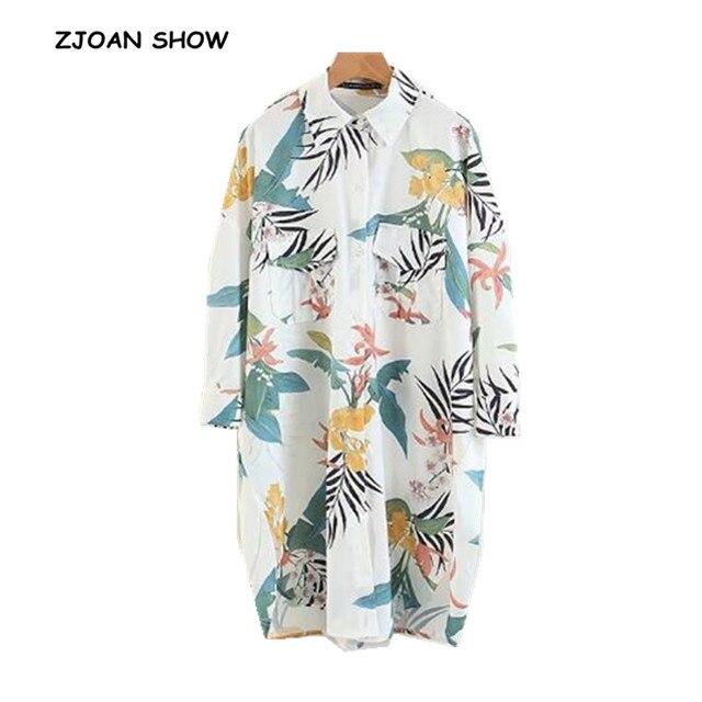 f2d3299333 R$ 62.82 9% de desconto Chic Colorido Flor Folhas de Impressão Camisa  Branca 2018 Mulher Lapela bolsos manga Comprida Side Slit Mid longa Blusa  Solta ...