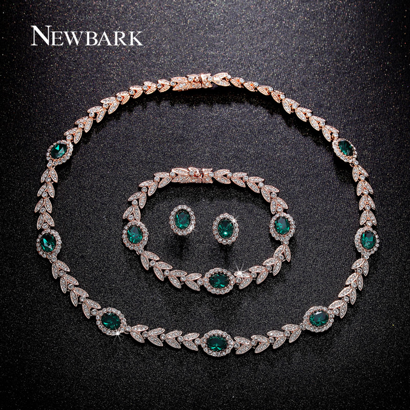 font b NEWBARK b font Luxury Jewelry Sets Rose Gold Plated With Green Crystal Earrings
