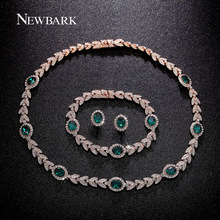 NEWBARK Luxury Jewelry Sets Rose Gold Plated With Green Crystal Earrings Bracelet Necklace For Women 3