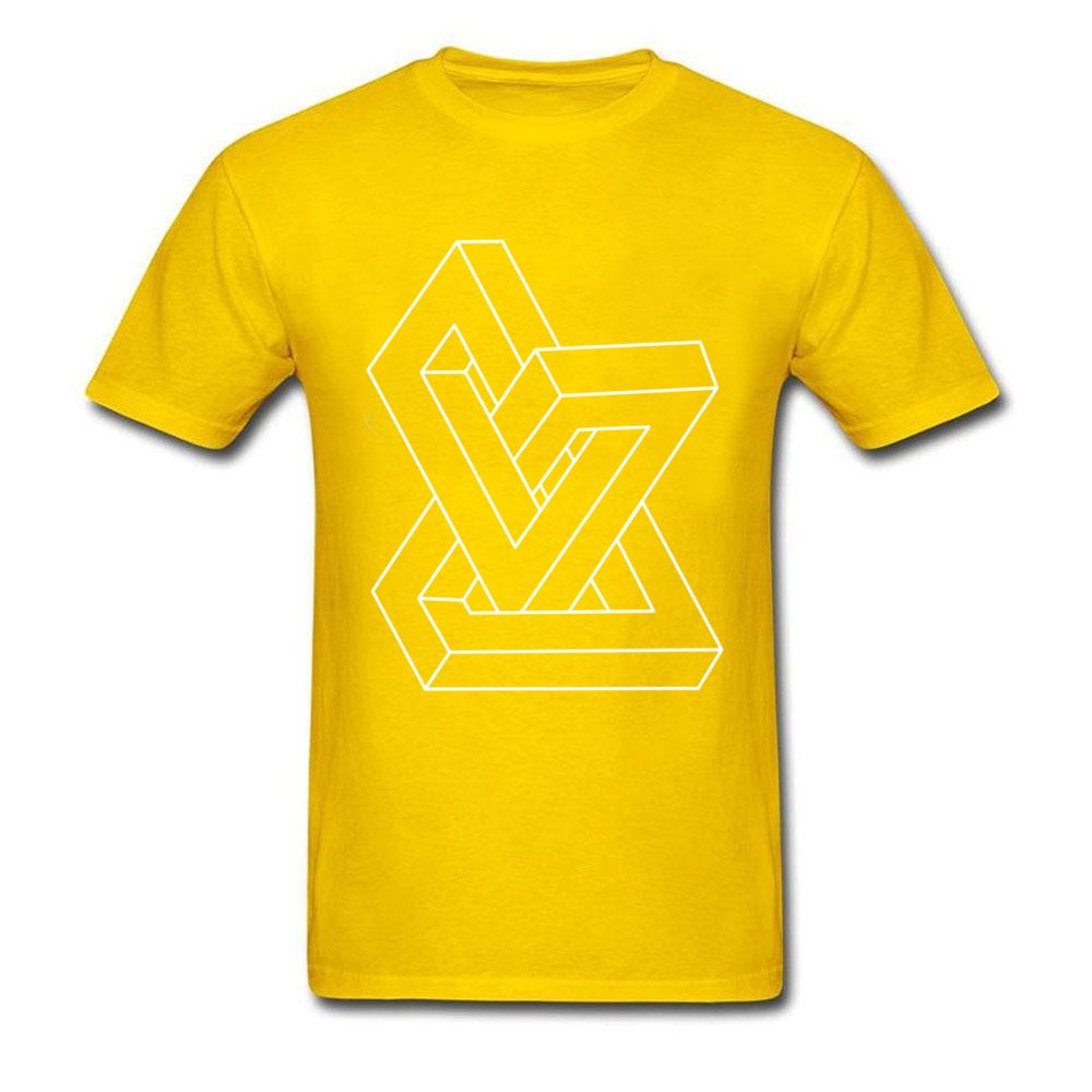 Cheap Men T-Shirt Crew Neck Short Sleeve All Cotton Design Tees Personalized Clothing Shirt Free Shipping Optical illusion   Impossible figure yellow