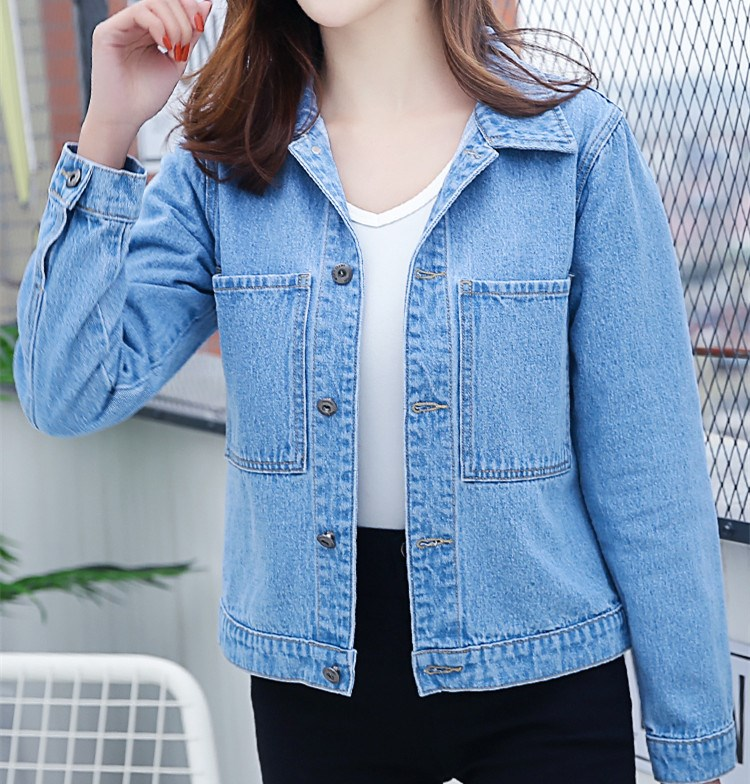 2018 Autumn Winter Women Solid Casual   Basic     Jacket   New Fashion Pocket Jeans Coats Elegant Slim Female Denim Outerwear