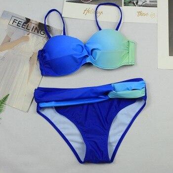 2018 Gradual blue Bikini Set Bandeau swimsuit  swimsuits women summer 2018