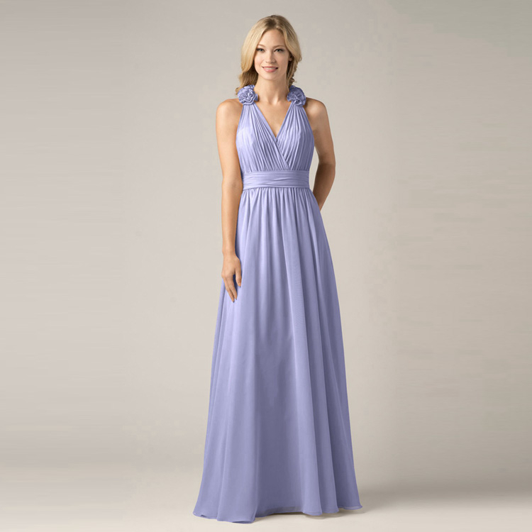 Semi Formal Wedding Gowns: Elegant Blue High Neck Bridesmaid Dresses Party Dresses