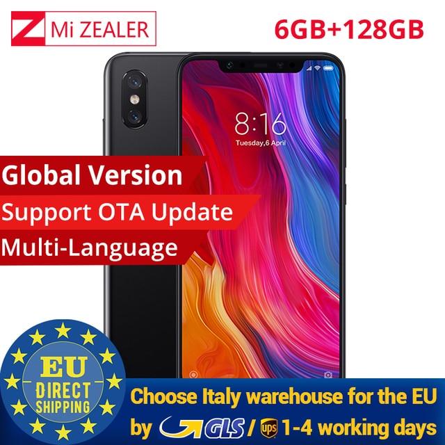 "Global Version Xiaomi Mi 8 6GB RAM 128GB ROM Mobile Phone Snapdragon 845 6.21"" 2248x1080 Dual Rear Camera 12MP"