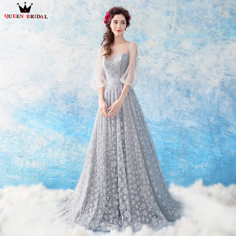A line Floor Length Lace Sequins Long Formal Elegant Gray Evening Dresses 2018 New Fashion Party Prom Dress Evening Gown WS71