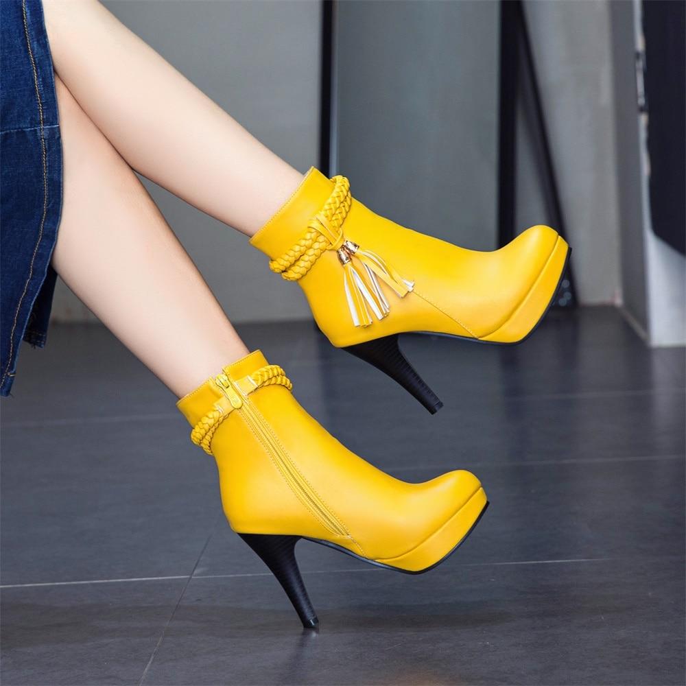 forme Black Peluche Chaussures Hx6931 hx6931 Automne Hiver Talons Botas Xaxbxc Dames White Gland Courtes Haute Mujer Botines Yellow Plate Femmes hx6931 En 2018 Courte Cuir Bottes Nouveau 45RjLA
